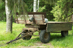 Picturesque tractor cart in the forest Royalty Free Stock Images