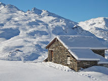 Picturesque traditional cabin in the Alps Royalty Free Stock Photo