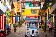 Picturesque, traditional and colorful little town Guatape, Colom Royalty Free Stock Images