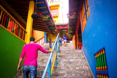 Picturesque, traditional and colorful little town Guatape, Colom Royalty Free Stock Photography