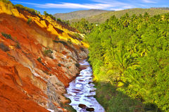 Picturesque tropic landscape with river. Royalty Free Stock Photos