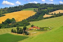Picturesque Tuscany landscape with house. Royalty Free Stock Photos
