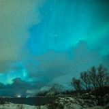 Picturesque Unique Nothern Lights Aurora Borealis Over Lofoten I Royalty Free Stock Photo