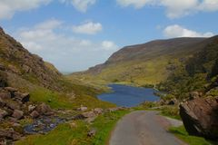 Picturesque valley and lake, Gap of Dunloe, Ireland Stock Images