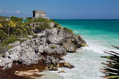 Picturesque view of ancient temple on the rock and the Caribbean stock photos