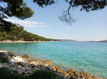 A picturesque view of the azure mediterranian sea in Dalmatia, Croatia. stock images