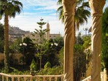 Picturesque view from the balcony of the Arab city on a Sunny spring morning. royalty free stock photography