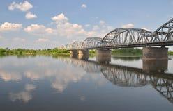 Picturesque view on bridge over Vistula river in Grudziadz in Poland Stock Photos
