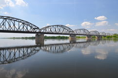 Picturesque view on bridge over Vistula river in Grudziadz in Poland Royalty Free Stock Photography