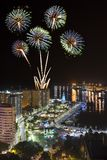 Fireworks above Malaga city at night Royalty Free Stock Images