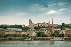 Picturesque view on Budapest from Danube. Picturesque view on Budapest and its buildings from Danube, Hungary royalty free stock photos
