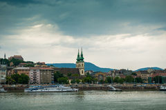 Picturesque view on Budapest from Danube. Picturesque view on Budapest and its buildings from Danube, Hungary stock image