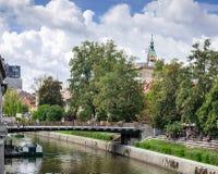 Picturesque view on Butchers\' bridge over river Ljubljanica at Slovenian capital, Ljubljana. Slovenia stock photography