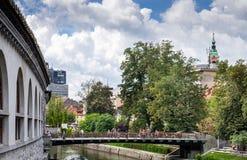 Picturesque view on Butchers\' bridge over river Ljubljanica at Slovenian capital, Ljubljana. Slovenia stock images