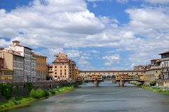 Picturesque view on colorful Ponte Vecchio over Arno River in Florence, Italy Royalty Free Stock Photography