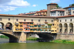 Picturesque view on colorful Ponte Vecchio over Arno River in Florence, Italy Stock Photography