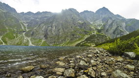 Picturesque view of Czarny Staw pod Rysami in Tatra mountains, Poland stock video footage