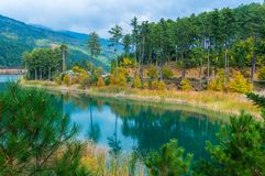 Picturesque view of Doxa lake in north peloponnese of Greece stock images