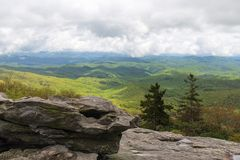 Rolling hills of the Blue Ridge Mountains on a cloudy day. stock images