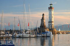 Picturesque view on the entrance of the harbor in Lindau island on Lake Bodensee, Germany Stock Photo