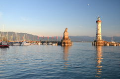 Picturesque view on the entrance of the harbor in Lindau island on Lake Bodensee, Germany Stock Photography
