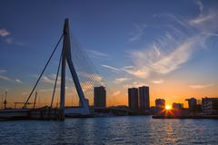 Picturesque View of Erasmus Bridge in Rotterdam Before the Sunset. City Skyline with Lights Off. Travel Concepts, Ideas and Destinations.Picturesque View of Royalty Free Stock Photos
