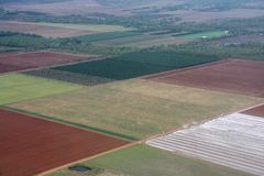 Picturesque view on the fields from hot air balloon. In Australia royalty free stock image