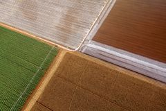 Picturesque view on the fields from hot air balloon. In Australia royalty free stock photos