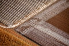 Picturesque view on the fields from hot air balloon. In Australia stock photos