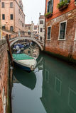 Picturesque view of Gondolas on lateral narrow Canal, Venice, Italy Stock Photos