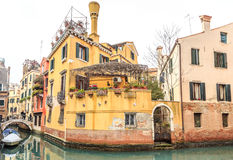 Picturesque view of Gondolas on lateral narrow Canal, Venice, Italy Royalty Free Stock Photos
