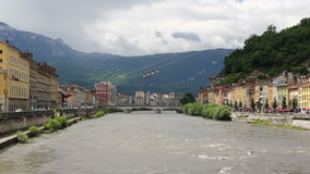Picturesque view of Grenoble city and Isere river, France stock footage