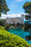 Picturesque view of Habsburg castle. Summer retreat for monarch at the seaside stock images