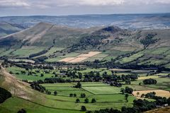 Picturesque View on the Hills near Edale, Peak District National Park, Derbyshire, England, UK.  stock image