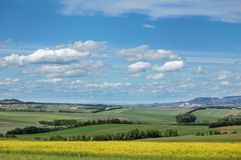 Picturesque view of hilly countryside area Royalty Free Stock Photos