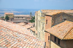 Picturesque view on historic buildings of Volterra in Tuscany, Italy Stock Photo