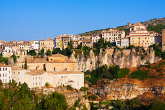 Picturesque view with  houses on rock in Cuenca Stock Photos