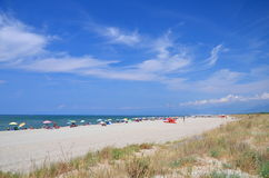 Picturesque view on Italian sandy beach Marina di Vecchiano nearby Pisa, Italy Stock Photography