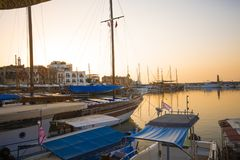 Picturesque view of Kyrenia harbour in Cyprus stock photo