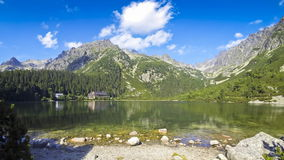Picturesque view of Lake Popradske pleso in High Tatras, Slovakia stock video footage