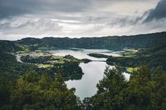 Picturesque view of the Lake of Sete Cidades Seven Cities Lake , a volcanic crater lake on Sao Miguel island, Azores