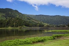 Picturesque view of the Lake of Sete Cidades, a volcanic crater lake, Sao Miguel island, Portugal