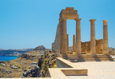 Picturesque view of Lindos St.Pauls Bay from Acropolis, Rhodes, Greece Stock Images
