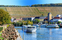 Picturesque view of the Main-River banks of Wuerzburg, Bavaria, Germany Royalty Free Stock Photography