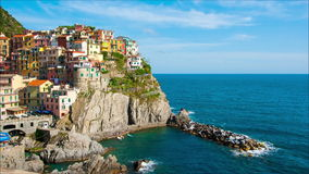 Picturesque view of Manarola stock video footage
