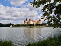 Picturesque view of Moritzburg Castle. A historic Baroque palace built on an artificial island near Dresden in Saxony, Germany Royalty Free Stock Images
