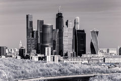 Picturesque view of the Moscow City in infrared Stock Photo