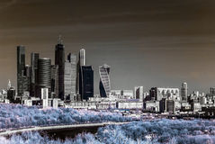 Picturesque view of the Moscow City in infrared Royalty Free Stock Image