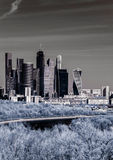 Picturesque view of the Moscow City in infrared Royalty Free Stock Photos