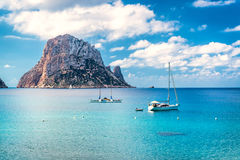 Picturesque view of the mysterious island of Es Vedra. Ibiza, Balearic Islands. Spain royalty free stock photography